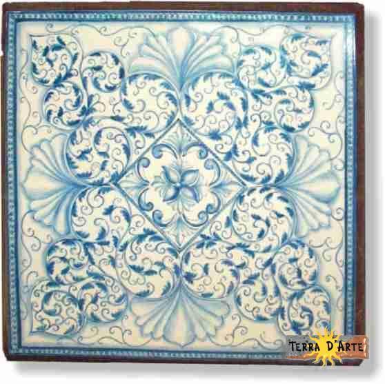 Tavolo in pietra lavica decorato a mano - TERRA D'ARTE