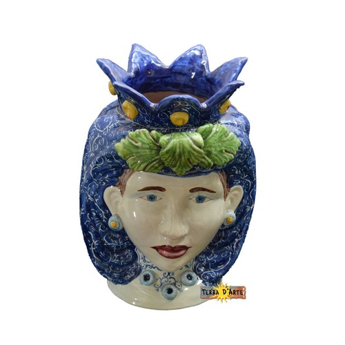 Vaso con forma testa di moro ceramizzato e colorato a mano