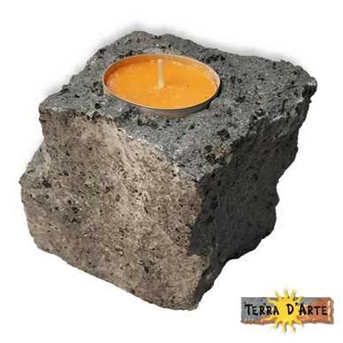 porta candela natural design in pietra lavica