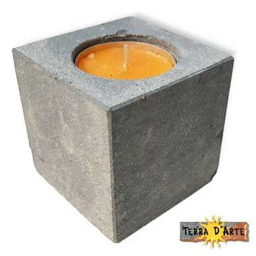 porta candela in pietra lavica 6x6